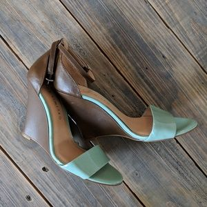 The Limited Teal and Brown Wedge sz 8
